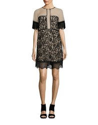 Kendall Kylie Sheer Panel Lace Babydoll Dress Black
