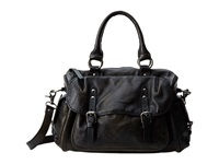 Frye Veronica Satchel Black Calf Shine Vintage Satchel Handbags