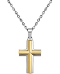 Macy's Diamond Accent Cross Pendant Necklace In Stainless Steel And 10K Gold Sterling Silver