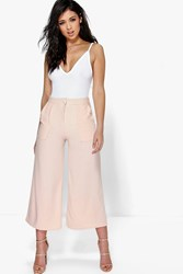 Boohoo Pocket Front Wide Leg Cropped Woven Trousers Nude