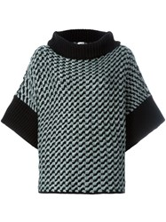 Armani Collezioni Houndstooth Pattern Oversized Pullover Black