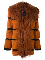 Sonia Rykiel By Faux Fur Coat Yellow And Orange