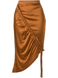 Manning Cartell Asymmetric Ruched Skirt Brown