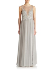 Basix Ii Sequined Illusion Front Gown Silver
