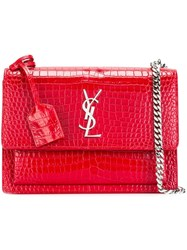 Saint Laurent Medium 'Sunset Monogram' Satchel Red