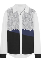 Peter Pilotto Eero Embroidered Mesh Trimmed Cotton Poplin Shirt Black