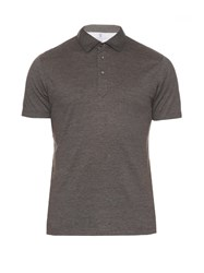 Brunello Cucinelli Cotton And Silk Blend Polo Shirt Grey Multi