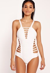 Missguided Strappy Bandage Swimsuit White White