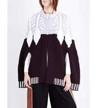 Peter Pilotto Leaf Embroidered Cape Burgundy