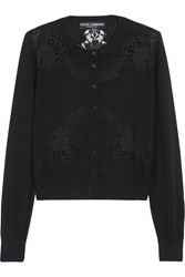 Dolce And Gabbana Lace Paneled Cashmere And Silk Blend Cardigan
