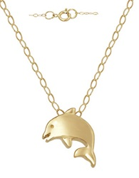 Lord And Taylor 14 Kt. Yellow Gold Dolphin Charm Necklace