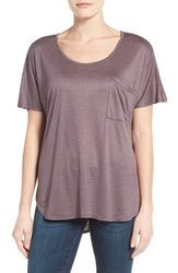 Bobeau Women's Short Sleeve One Pocket High Low Tee Plum
