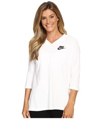 Nike Sportswear 3 4 Sleeve Shirt White Black Women's Clothing