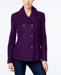 Celebrity Pink Double Breasted Peacoat Eggplant