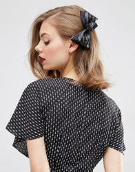Asos Limited Edition Faux Leather Bow Hair Barrette Black