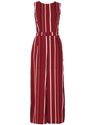 Tenki Sleeveless Striped Jumpsuit Red