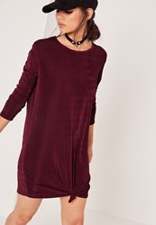 Missguided Long Sleeve Slinky Knot Front Dress Purple Burgundy