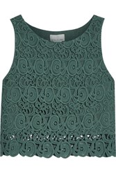 Miguelina Rosi Cropped Cotton Guipure Lace Top Dark Green