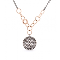 Roberto Marroni 18Kt Oxidized White Gold Necklace With Light Brown And White Diamonds Gold Red Gold Light Brown