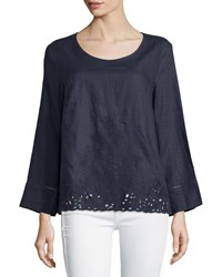 Neiman Marcus Linen Embroidered Lace Top Total Eclipse