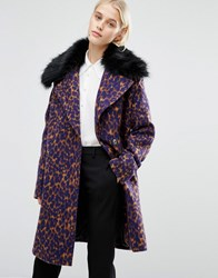 Lost Ink Smart Coat With Faux Fur Collar In Leopard Print Multi