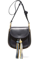 Chloe Hudson Small Studded Leather Shoulder Bag Midnight Blue