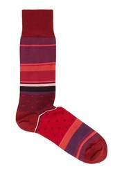 Paul Smith Polka Dot And Striped Cotton Blend Socks Red