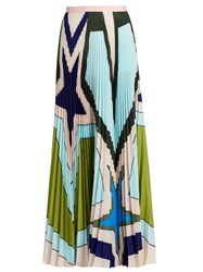 Mary Katrantzou Pelar Pleated Crepe De Chine Maxi Skirt Blue Multi