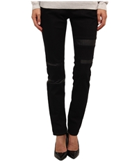 Armani Jeans Low Rise Super Skinny Eco Leather And Denim Pant