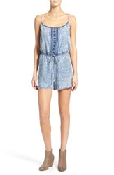 Junior Women's Want And Need Embroidered Acid Wash Romper