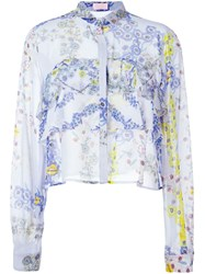 Giamba Floral Print Boxy Shirt Pink And Purple