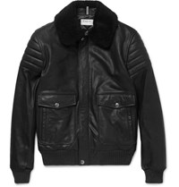 A.P.C. Shearling Trimmed Leather Jacket Black