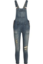 Madewell Distressed Stretch Denim Skinny Overalls Blue
