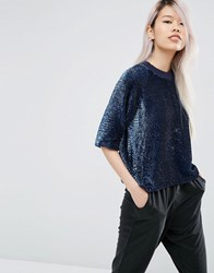 Asos White Sequin Top Navy