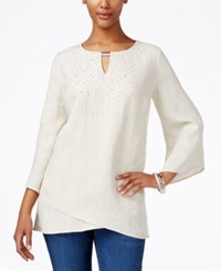 Jm Collection Linen Studded Tunic Only At Macy's Flax