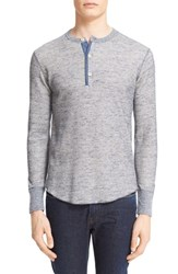Todd Snyder Men's Thermal Henley Navy