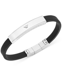 Emporio Armani Stainless Steel And Black Rubber Logo Bracelet