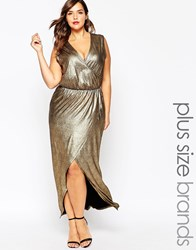 Pink Clove Wrap Front Metallic Maxi Dress Gold