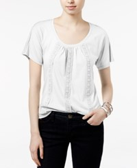 Tommy Hilfiger Delphine Crochet Trim Top Only At Macy's Snow White