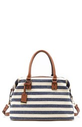 Sole Society 'Leighton' Stripe Duffel Bag Blue Navy Cream
