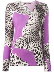 Roberto Cavalli Leopard Print V Neck Sweater Pink And Purple