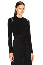 Proenza Schouler Matte Viscose Cropped Crewneck Sweater With Lacing In Black