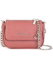 Twin Set Logo Plaque Crossbody Bag Pink Purple