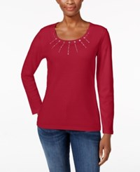 Karen Scott Studded Scoop Neck Top Only At Macy's New Red Amore