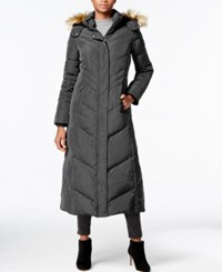 Jones New York Faux Fur Trim Hooded Down Maxi Coat Gunmetal