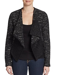 Saks Fifth Avenue Red Tweed And Lace Jacket