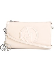 Armani Jeans Embossed Logo Clutch Nude And Neutrals