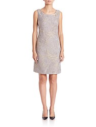 Lafayette 148 New York Rosalind Scroll Embroidery Dress Bisque Multi