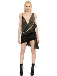Anthony Vaccarello Studded And Perforated Faux Suede Dress