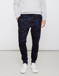 The Idle Man Camo Joggers Navy